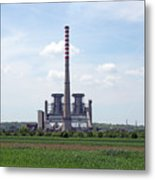 Thermal Power Plant On Green Wheat Field Industry Metal Print