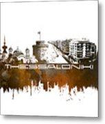 Thessaloniki Skyline City Brown Metal Print