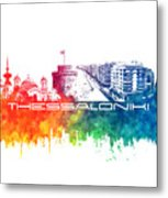 Thessaloniki Skyline City Color Metal Print