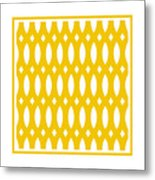 Thick Curved Trellis With Border In Mustard Metal Print