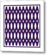 Thick Curved Trellis With Border In Purple Metal Print