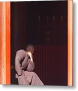 Thinking Monk Metal Print