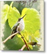 Thinking Of You Hummingbird In The Rain Greeting Card Metal Print