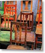 Thirteen Chairs Metal Print