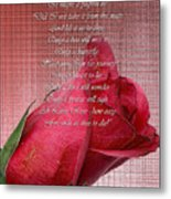 This Little Rose On Digital Linen Metal Print