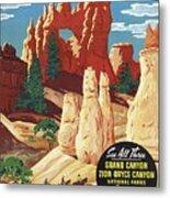 This Summer - Visit Bryce Canyon National Par, Utah, Usa - Retro Travel Poster - Vintage Poster Metal Print