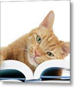 This Tabby Cat Loves Books  Metal Print
