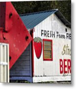 This Way For Strawberries Metal Print