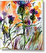 Thistles And Bees Watercolor And Ink Metal Print