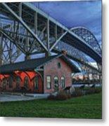 Thomas Edison Train Depot And Blue Water Bridges Metal Print
