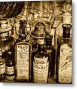 Those Old Apothecary Bottles In Sepia Metal Print