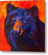 Thoughtful - Black Bear Metal Print
