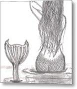 Thoughtful Mermaid Metal Print