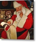 Thoughtful Santa Metal Print