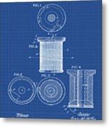 Thread Spool Patent 1877 Blueprint Metal Print