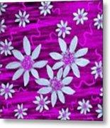 Three And Twenty Flowers On Pink Metal Print