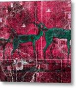 Three Antelope On Red Metal Print