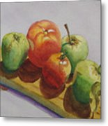 Three Apples Two Tomatoes Metal Print