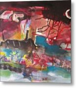 Three Arms10  Original Abstract Colorful Landscape Painting For Sale Red Blue Green Metal Print