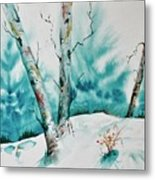 Three Aspens On A Snowy Slope Metal Print