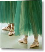 Three Ballerinas In Green Tutus Metal Print by Julia Hiebaum