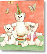 Three Bears Ready For The Party Metal Print