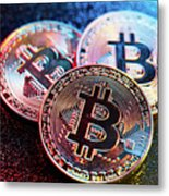 Three Bitcoin Coins In A Colorful Lighting. Metal Print