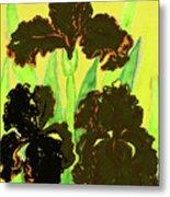 Three Black Irises, Painting Metal Print