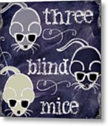 Three Blind Mice Children Chalk Art Metal Print