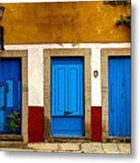 Three Blue Doors 1 Metal Print