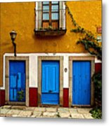 Three Blue Doors 2 Metal Print