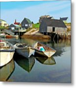 Three Boats At Peggys Cove Metal Print