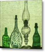 Three Bottles And A Lamp Metal Print
