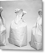 Three Brown Paper Lunch Bags Metal Print
