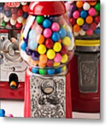 Three Bubble Gum Machines Metal Print