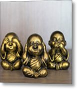 Three Buddha Statue Metal Print