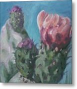 Three Cactus Blossoms Metal Print