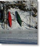 Three Canoes Metal Print