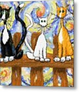 Three Cats On A Fence Metal Print