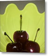 Three Cherries In Profile Metal Print