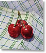 Three Sweet Cherries By Irina Sztukowski Metal Print