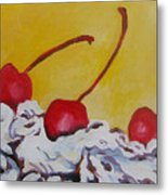 Three Cherries Metal Print