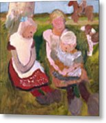Three Children Sitting On A Hillside With Dog And Horse Metal Print