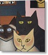 Three Cool Cats Metal Print
