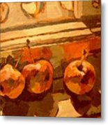 Three Crabapples On A Window Sill Metal Print