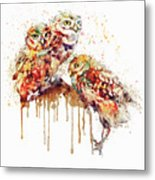 Three Cute Owls Watercolor Metal Print