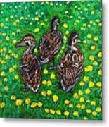Three Ducklings Metal Print
