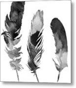 Three Feathers Silhouette Metal Print