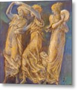Three Female Figures Dancing And Playing Metal Print