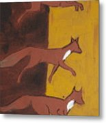 Three Foxes Running Metal Print